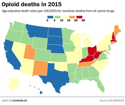 there is also a table of raw data by state in the article the following map taken from the article is for overall opioid deaths in the us for 2015